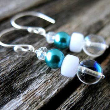 Teal Bubble Glass Pearl Dangle Earrings - Teal Glass Pearl - Clear AB Round - White - Argentium Sterling Silver