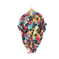 Floral Silk Blouse Oversized Short Sleeve Silk 80s Button Up Tshirt Colorful Abstract Pocket Tee Slouchy Beach Shirt Vintage Mens Large
