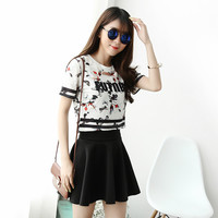 Flowers striped casual round neck short T-shirt