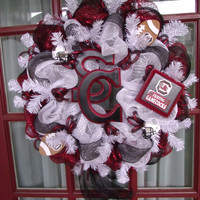 South Carolina Gamecocks College Football Deco Mesh Door Wreath