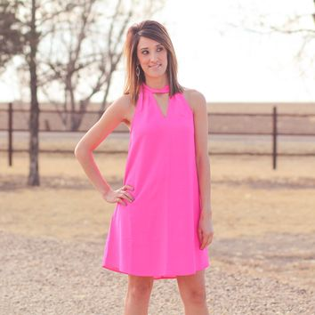 Alamo Choker Dress in Pink