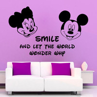 Disney Mouse Wall Decals Smile Wall Quotes Children Vinyl Sticker Words Baby Kids Wall Decor Love Art Boy Girl Boy Nursery Room Decor KG657