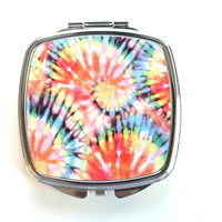 Faded Tie-Dye Swirls Compact Mirror
