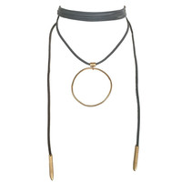Ring Around Wrap Choker Necklace In Grey