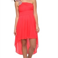Dress with Stone Strap with Keyhole Cutout