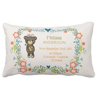 Cute Brown Bear with Yellow Flower Birth Lumbar Pillow