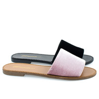 Sadie24 by Breckelle's, Women Simple Flat Slide In Slippers, Open Toe Sandal In Suede & Velvet