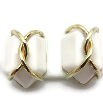 Modernist Caged Glass Earrings - Milk Glass Italy Costume Jewelry Pierced