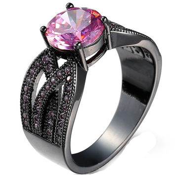 Black Gold Powder Zircon Shiny EmeraldCrystal Lady Ring Simple White Gold Ring