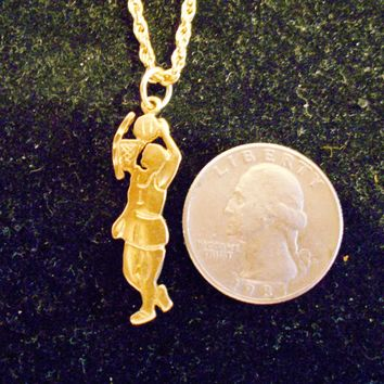 bling gold plated basketball girl player shooting hoop sport pendant charm rope chain hip hop trendy fashion sports necklace jewelry