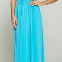 Goddess Plunging Neckline Turquoise Long Maxi Dress