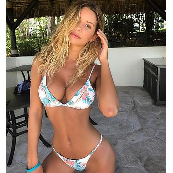 Fashion White Beach Bikini Blue Flower Print Hollow Two Piece Bikini Swimsuit