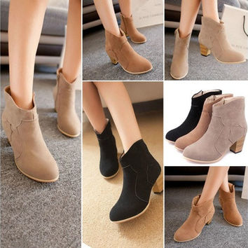 Apricot,Brown,Black Trendy Womens Ladies Winter Riding Ankle Suede Boots Mid heel Fashion Short Boots [8238484679]