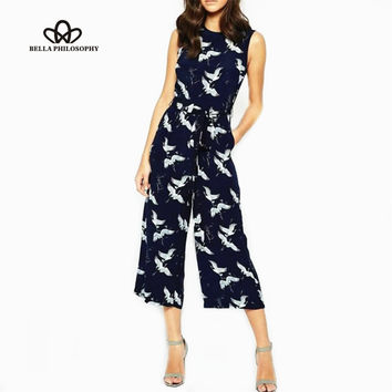 2017 spring summer new women's bird print O-neck sleeveless belt sashes ankle-length jumpsuits blue