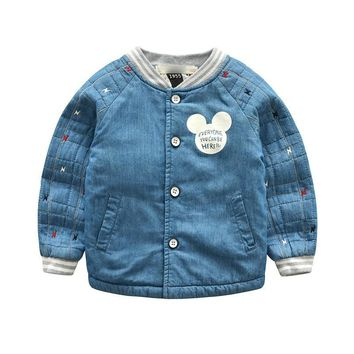 Trendy 2018 Autumn Baby Boy Denim Jackets Coats Fashion Children Outwear Coat Girls Kids Jacket Cartoon Printing Thickening Cowboy Coat AT_94_13