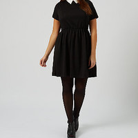 Inspire Black Contrast Collar Skater Dress