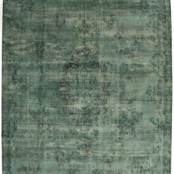 """8'4"""" x 11'5"""" Green Vintage Persian Overdyed Rug"""