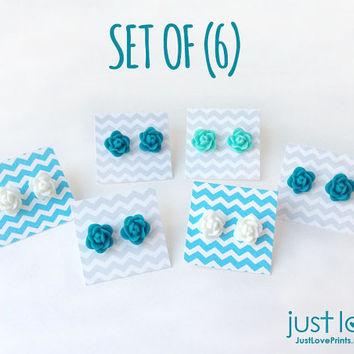 Set of (6) Rosette Stud Earrings - White, Turquoise, Dark Turquoise - Multiple Christmas Gifts
