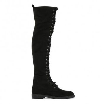 Black Knee High Lace Up Combat Boots
