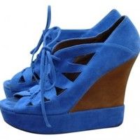 Jeffery Campbell The Harlow Sandal Blue Suede Wedges at 46% off on Tradesy
