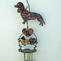 Dachshund Garden Copper Art Wind Chime / Metal Yard Art / Outdoor Hanging Garden Decor  / Dachshund Gift / Pet Memorial