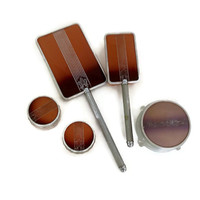 Vintage 1940s Vanity Set, Deco Design, Five Pieces, Mirror, Brush and 3 Lidded Glass Jars, Dresser Set, Brown, Ombre with Silver Design
