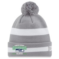 New Era Seattle Seahawks Super Bowl XLVIII Champions 2-Tone Stripe Knit Hat with Pom - Gray/White