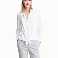 Tie-front Shirt - from H&M