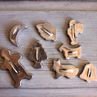 8 assorted metal cookie cutters // mid century aluminum kitchen