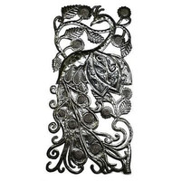Peacock Metal Wall Art 11 by 23 inches - Croix des Bouquets