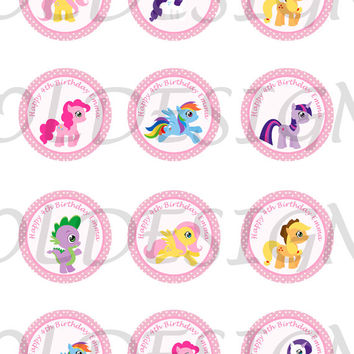 My Little Pony Stickers, Cupcake Topper, Tags, great for birthday partys. 2 Inch Circles. Digital file