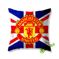 Manchester United Logo England Square Pillow Cover