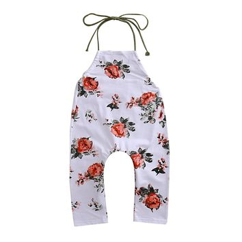 Summer Infant Babys Girl Clothing Halter Floral Romper Sunsuit Jumpsuit Outfit Clothes Hot