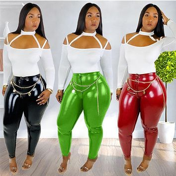 Women Two Piece Off The Shoulder Long Sleeve Top PU Leather Pant Set