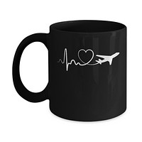Airplane Fly Flight Planes Heartbeat To Travel Airplane Mug