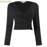 Kate Kasin Women Crop Top 2017 Long Sleeve Sexy V-Neck Crop Tops Designer Cross Wrap Black Shirt Plus Size Cheap China Clothes