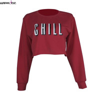 New year Short Sweatshirts Women Summer Autumn Chill letter Print Sweatshirt Sexy Casual Crew Neck Crop Top Hoodies