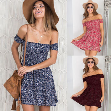 Women Summer Sexy Small Floral Strapless Casual Short Sleeve Stamp Wrap Chest Collar Dress Beach Dress Short Mini Dress