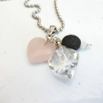 Rose Quartz Diffuser Pendant -Aromatherapy Oil Diffuser Pendant Necklace -Glass Vial Bottle Pendant -Lava Rock Essential Oil Necklace
