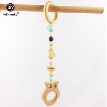 Baby Teether Baby Play Gym Crib Toys Silicone Beads Wood Owl Pram String Timber Toys Wooden Ring Teether Wooden Teether