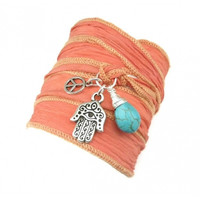 Silk Ribbon Bracelet with Hamsa, Peace Sign, and Turquoise