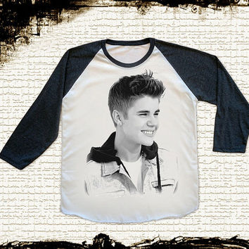 Size M -- JUSTIN BIEBER Shirts R&B Pop Rock Shirts Teen Pop Baseball Shirts Jersey Raglan Shirts Long Sleeve Unisex Shirts Women Shirts