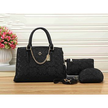 Coach Fashion Women Shopping Bag Leather Handbag Shoulder Bag Crossbody Purse Wallet Set Three Piece Black I-KSPJ-BBDL