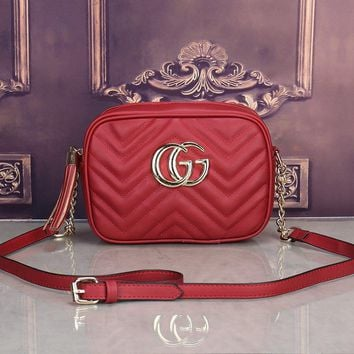 Gucci Simple Casual Fashion Tassel Zip Double G Logo Quilted Metal Chain Single Shoulder Messenger Bag Women Small Square Bag