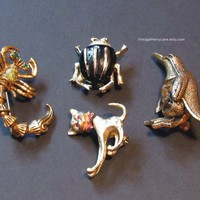 Vintage Figural Brooch Lot, Collectible Pins, Brooches, Destash Lot, Costume Jewelry