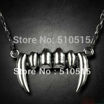Gothic Vampire Diaries Tusk Fangs Teeth Necklace