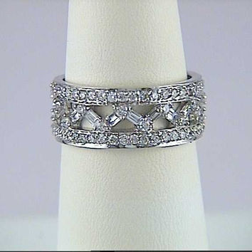 2.06ct Baguettes and Round Diamonds Eternity Ring JEWELFORME BLUE