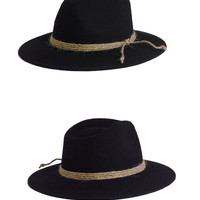 FLAT BRIM WOOL BOHO HAT- BLACK
