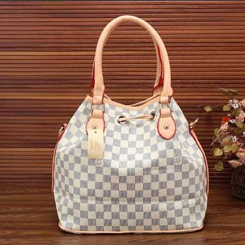 LV Women Shopping Leather Tote Crossbody Satchel Shoulder Bag Handbag White Tartan I-LLBPFSH