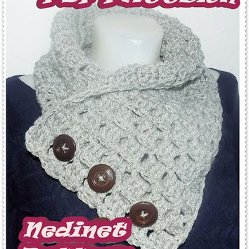 Crochet Pattern, 3 Button 'Neszta' scarf, Wrap cowl, Shoulder Warp Instant DOWNLOAD Pattern